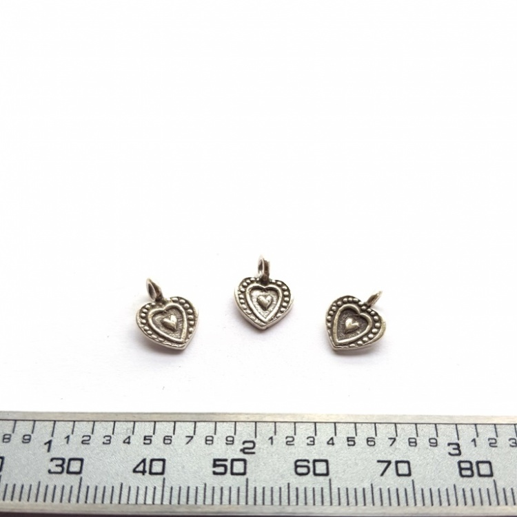 3pcs x 9mm Thai Hill Tribe Silver Boho Heart Charms